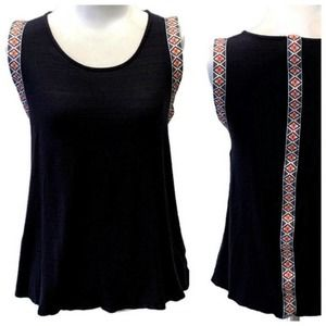W5 Navy Knit Embroidered Trim Top - Small Stretch